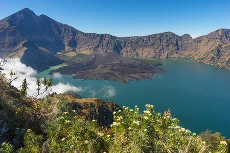 crater lake: Rinjani volcano mountain landscape from Senaru crater, Indonesia Stock Photo