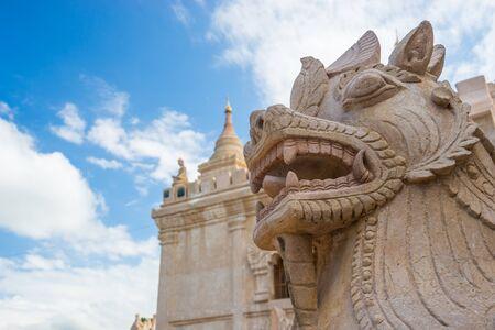 Dragon-headed unicorn statue at Ananda temple, Bagan, Mandalay, Myanmar