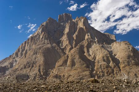 Great trango tower at Khobutse camp, K2 trek, Pakistan, Asia