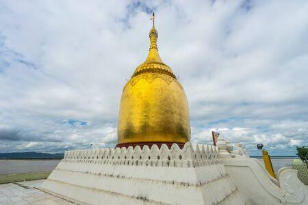 Bupaya pagoda near Irrawaddy river at Bagan, Mandalay, Myanmar, Asia Stock Photo