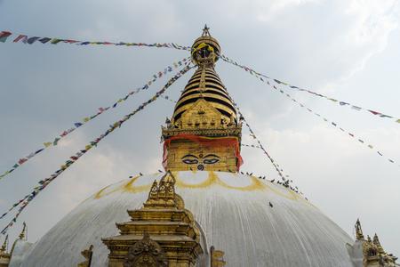 Swayambhunath temple (Monkey temple), landmark of Kathmandu city, Nepal, Asia Stock Photo