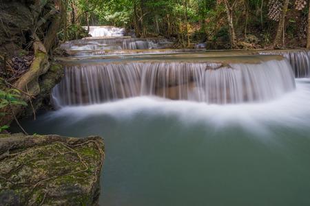Huai Mae Khamin waterfall in the forest, Kanchanaburi, Thailand, Asia
