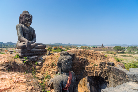 archaeological: Old Buddha statue at Mrauk-U ancient city, Rakhine, Myanmar, Asia