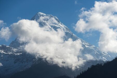Annapurna south mountain peak at Ghorepani village, Annapurna, Pokhara, Nepal, Asia