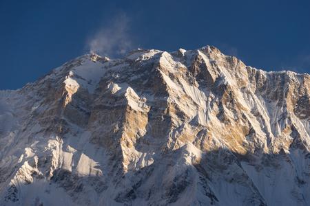 pokhara: Annapurna I mountain peak at sunset, world 10th highest peak, ABC, Pokhara, Nepal,Asia