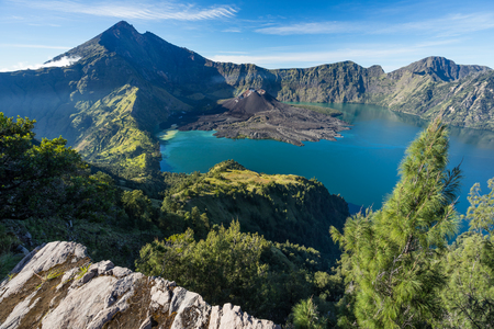 Rinjani volcano mountain view from Senaru crater rim, Lombok island, Indonesia, Asia Stock Photo