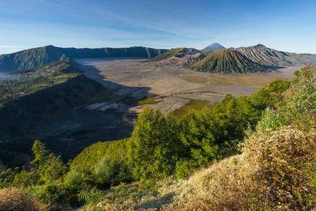 Landscape of Bromo, Batok, and Semeru volcano mountain, East Java, Indonesia, Asia