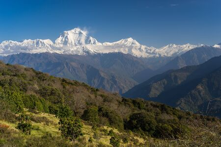 Dhaulagiri mountain peak view from Ghorepani village, ABC, Pokhara, Nepal, Asia