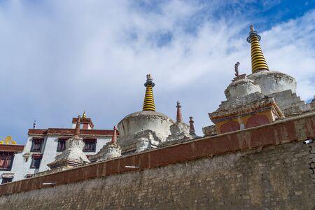 White stupa at Lamayuru monastery, moonland, Leh, Ladakh, India, Asia Stock Photo