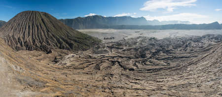 Panoramic view on top of Bromo volcano mountain crater, East Java, Indonesia, Asia Stock Photo