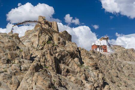 Namgail Tsemo monastery up on hill, landmark of Leh city, Ladakh, India, Asia
