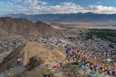 Top view of Leh city at sunset, Ladakh, Jammu Kashmir, India, Asia