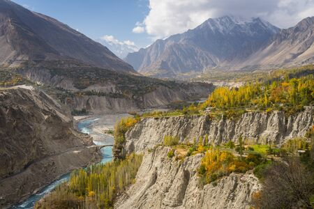 Beautiful autumn in the morning in Hunza valley , Karakoram highway , Pakistan, Asia
