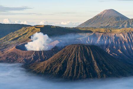 Beautiful scenery of Bromo active volcano mountain, East Java, Indonesia, Asia