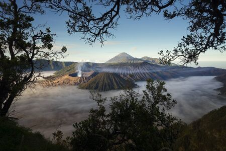 Bromo volcano mountain landscape in a morning with mist, East Java, Indonesia, Asia Stock Photo