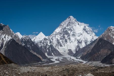 Pico da montanha K2, segunda montanha mais alta do mundo, K2 trek, Paquistão, Ásia