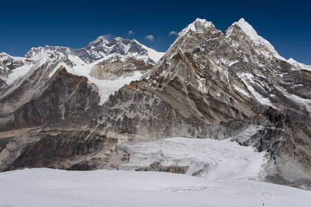 Everest mountain peak view from the way to Mera peak, Everest region, Nepal, Asia