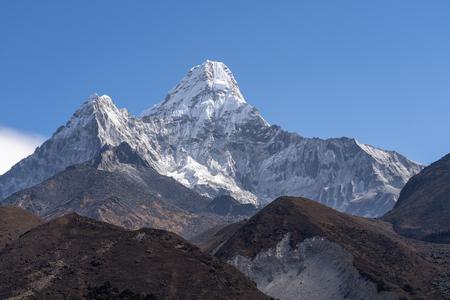 Ama Dablam mountain peak, famous peak in Everest region in Himalayas mountain range, Nepal, Asia