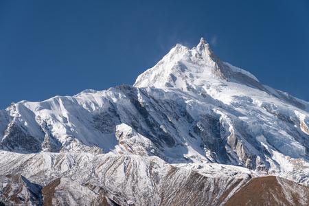 Manaslu mountain peak, eighth highest mountain peak in the world, Himalayas mountain range, Nepal, Asia