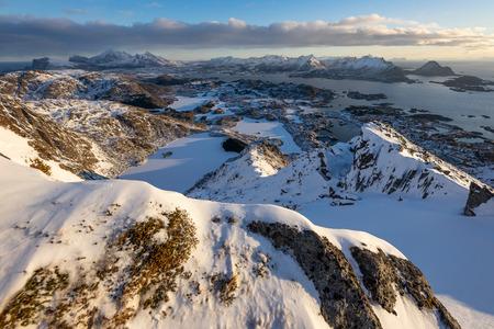 Top view of Nonstinden mountain in Lofoten archipelago in winter season, Norway, Scandinavia, Europe