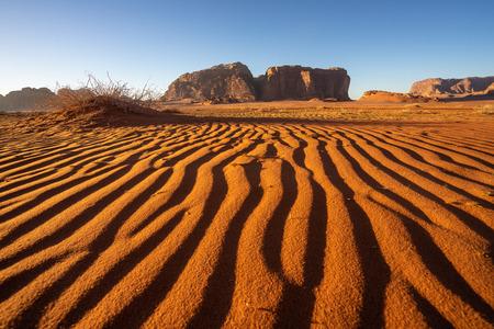 Sand line in Wadi Rum desert in Jordan in a morning sunrise, Jordan, Asia
