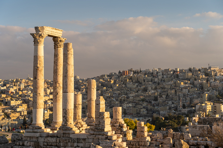 Amman Citadel, Ancient Roman architecture and city on top of mountain in Jordan, Asia