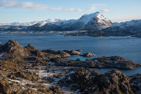 Landscape of Lofoten archipelago in winter season, Norway, Scandinavia, Europe