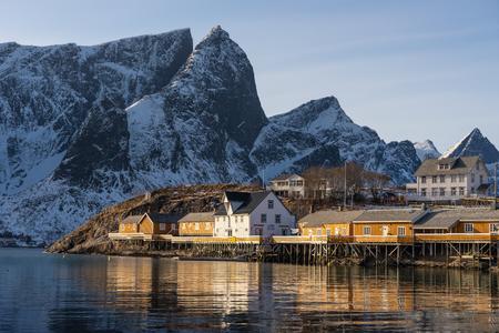 Sakrisoy fishing village in winter season, Lofoten archipelago, Norway, Scandinavia, Europe
