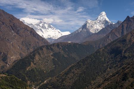 Himalayas mountain landscape including Everest, Lhotse, Ama Dablam, Everest region, Nepal, Asia