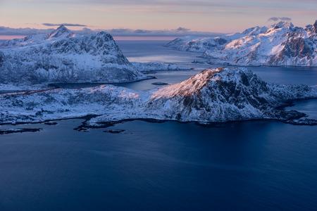 Beautiful landscape of Lofoten archipelago in winter season in a morning sunrise, Norway, Scandinavia, Europe