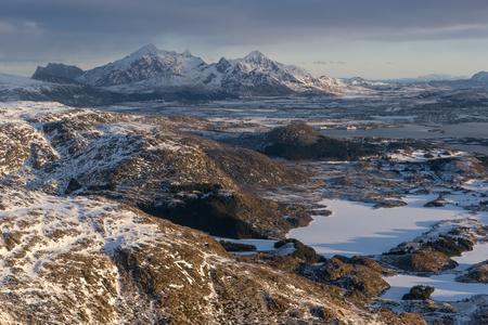 Winter season in Lofoten archipelago in a morning, Norway, Scandinavia, Europe