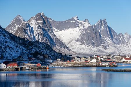 Reine small fishing village in Lofoten archipelago in clearly day, Norway, Scandinavia, Europe