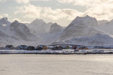 Ramberg village, small village in Lofoten archipelago, Norway, Scandinavia, Europe