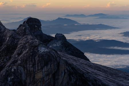 Beautiful view from top of Lows peak in Kinabalu mountain, Sabah, Malaysia, Asia 版權商用圖片