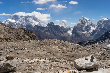 Himalaya mountains landscape seen from Renjo la pass, Everest base camp trek, Nepal, Asia 版權商用圖片