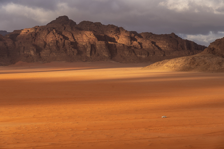 Wadi Rum desert landscape in cloudy day, Jordan, Middle east, Asia