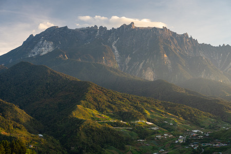 Kinabalu mountain peak in a morning sunrise, highest peak in Malaysia, Asia