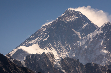 Everest mountain peak, highest peak in the world in Himalaya mountains range, Nepal, Asia Фото со стока