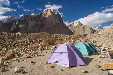 Khobutse camp in front of Trango tower family mountain, Karakoram range, K2 base camp trek, Pakistan, Asia 版權商用圖片