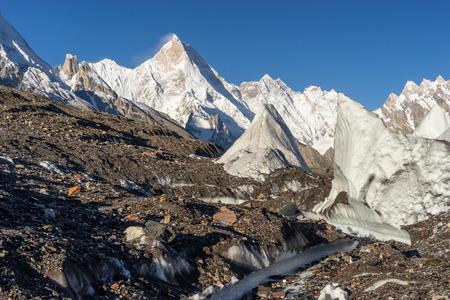 Masherbrum mountain peak or K1 in Karakoram mountain range, K2 base camp trek in Pakistan, Asia