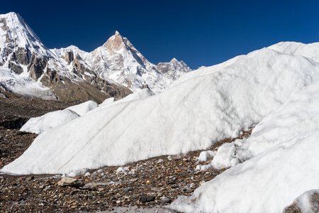 K1 or Masherbrum mountain peak in Karakoram mountain range, K2 base camp trek, Pakistan, Asia Stock Photo