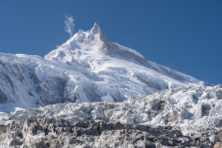 Manaslu mountain peak, eighth highest peak in the world, Himalayas mountain range, Nepal, Asia