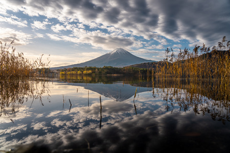 Reflection of Fujisan active volcano mountain in Japan, Asia