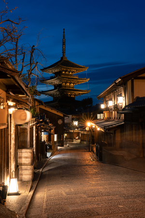 Yasaka pagoda and old town at twilight time, Kansai, Kyoto, Japan, Asia