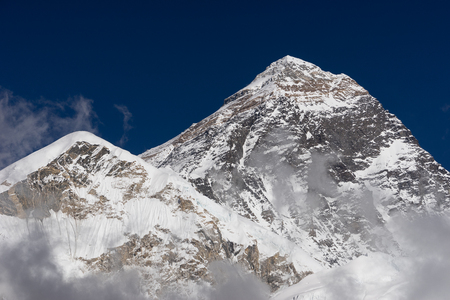 Everest mountain peak, highest peak in the world view from Kalapattar, Himalayas mountain, Nepal, Asia