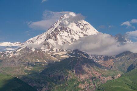 Kazbek mountain peak, third highest peak in Georgia, Caucasus mountain range, Georgia, Asia