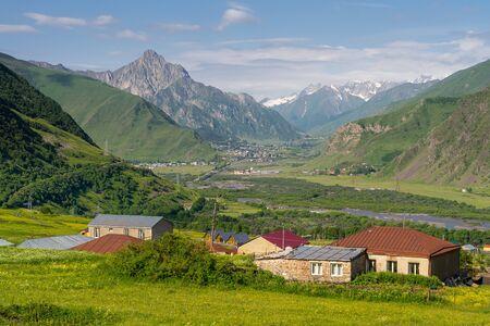 Beautiful scenery of Kazbegi valley in summer season, Caucasus range, Georgia, Asia 版權商用圖片