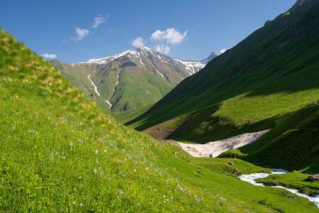 Beautiful landscape of Juta valley in summer season, Caucasus mountain range in Georgia, Asia