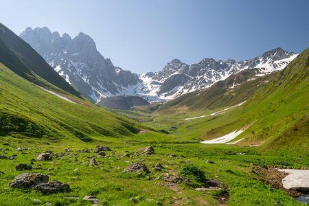 Summer season in Juta valley, small village in Caucasus mountain range in Georgia, Asia 版權商用圖片