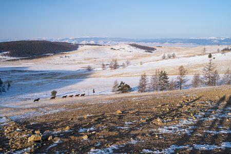 Beautiful landscape of Olkhon in winter season in a morning, Siberia, Russia, Asia 版權商用圖片